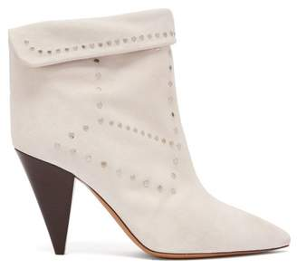 Isabel Marant Lisbo Stud Embellished Suede Ankle Boots - Womens - White