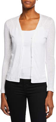 Majestic V-Neck Button-Down Long-Sleeve Stretch-Linen Cardigan