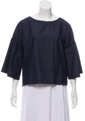 J Brand Bell-Sleeve Chambray Top