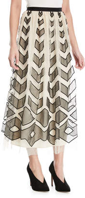 RED Valentino Point d'Esprit Long Skirt with Cutouts