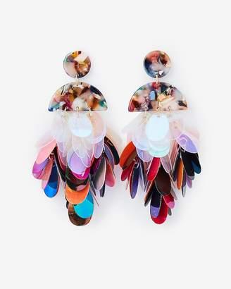 Express Resin Top Sequin Fringe Drop Earrings