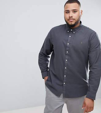 Farah Brewer slim fit buttondown shirt in gray