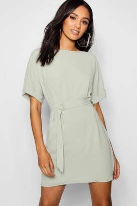 boohoo Petite Turn Up Sleeve Waist Woven Shift Dress