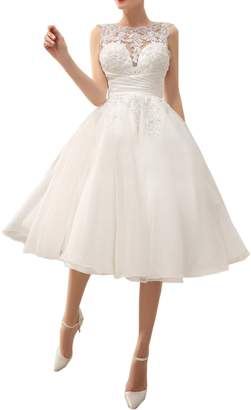 DressyMe Women's Knee-Length Reception Wedding Anniverary Dress Backless Organza