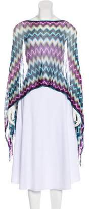 Missoni Knitted Fringe-Trimmed Poncho Purple Knitted Fringe-Trimmed Poncho