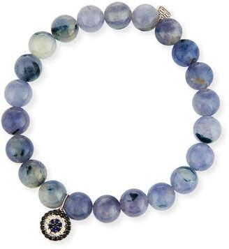 Sydney Evan 8mm Beaded Iolite Bracelet with Sapphire & Diamond Charm