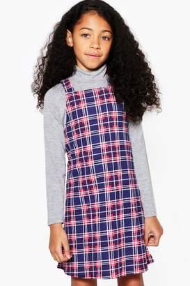 boohoo Girls Check Pinny Dress