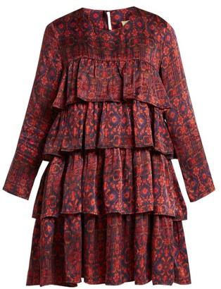 Muzungu sisters Muzungu Sisters - Jila Hameden Tiered Ruffle Silk Dress - Womens - Red Print