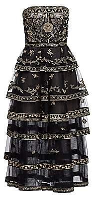 Oscar de la Renta Women's Strapless Embroidered Tier Midi Dress
