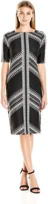 Gabby Skye Women's Plus-Size Printed Sheath Dress, Black/Black