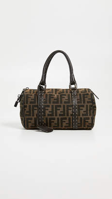 Fendi What Goes Around Comes Around Brown Zucca Boston Mini