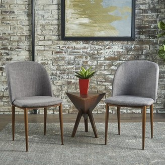 Noble House Alexa Light Grey Fabric Dining Chairs (Set of 2)