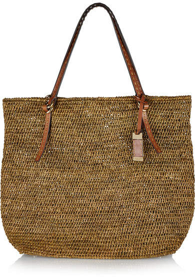 Michael Kors - Rogers Large Raffia And Leather Tote - Army green