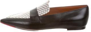 CelineCéline Leather Snakeskin-Trimmed Loafers