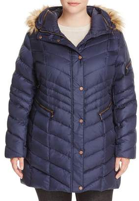 Andrew Marc Plus Renee Faux Fur Trimmed Puffer Coat