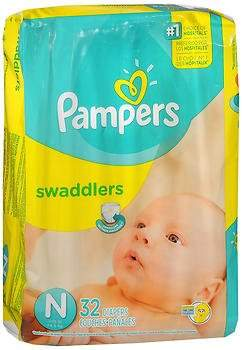 Pampers Swaddlers New Baby Diapers Size - 4 packs of 32, Pack of 2