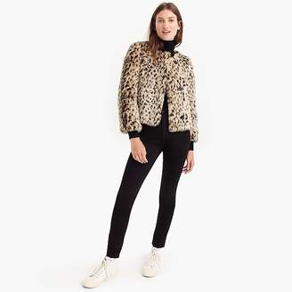J.Crew Cropped faux fur coat in snow leopard