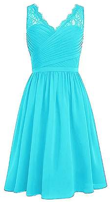 ThaliaDress Womens Straps Short Pleated Chiffon Lace Bridesmaid Dress T299LF US