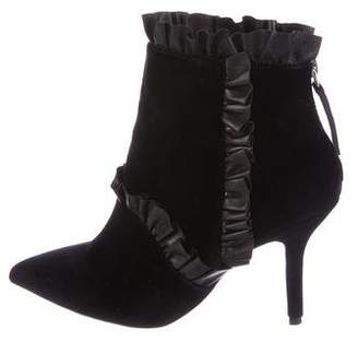 Christopher Kane Velvet Ruffle Booties