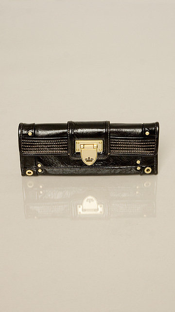 Juicy Couture Black Stitched Elongated Clutch