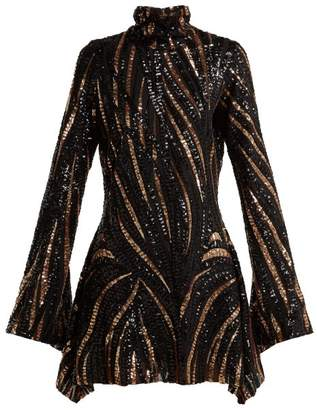 Halpern - Sequined Mini Dress - Womens - Brown Multi