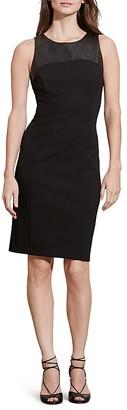 Lauren Ralph Lauren Faux Leather Yoke Dress $139 thestylecure.com