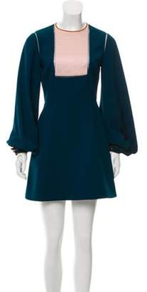 Roksanda Long Sleeve Mini Dress Blue Long Sleeve Mini Dress