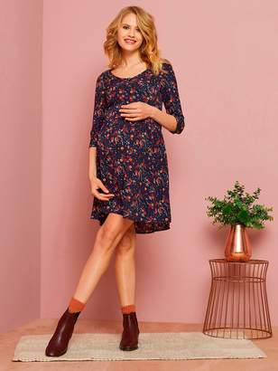 Vertbaudet Loose-Fitting Maternity Dress with Buttoned Front