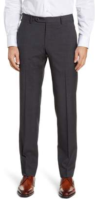 Zanella Parker Flat Front Plaid Wool Trousers