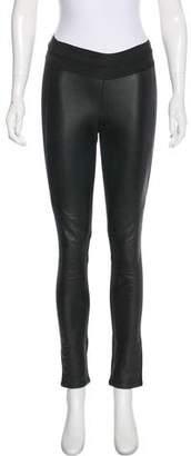 Paige Mid-Rise Leather-Paneled Leggings