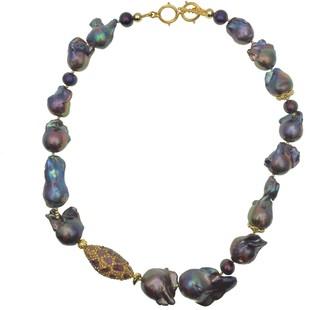 Farra Deep Purple Baroque Freshwater Pearls With Rhinestones Short Necklace