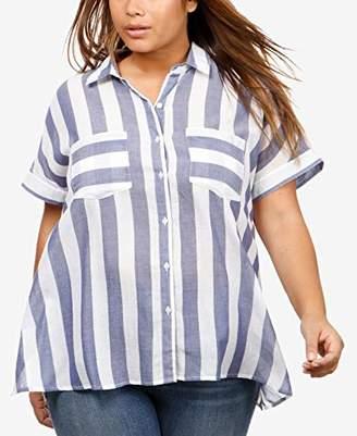 Lucky Brand Women's Size Plus Stripe TIE Back Shirt