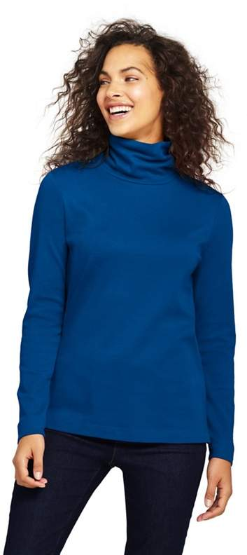 Blue Petite Shaped Supima Long Sleeves Roll Neck