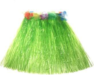 Gymforward Hawaii Luau Grass Skirt for Costume Party,Birthday,Celebration Luau Hibiscus with Flower Waistband for Children Kids