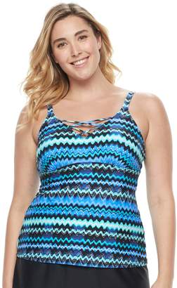 Croft & Barrow Plus Size Lace-Up Tankini Top