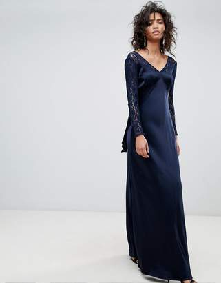 Ghost Long Sleeve Maxi Dress With Lace Bodice & Bow Back