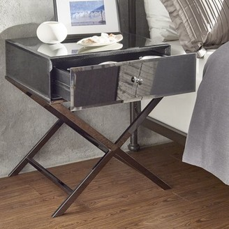 Weston Home Downey Mirrored End Table With Chrome Frame