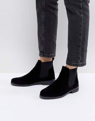 Office Jamie Black Suede Flat Chelsea Boots