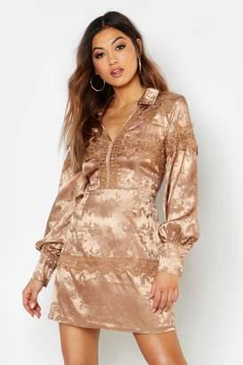 boohoo Satin Jacquard Lace Trim Shirt Dress