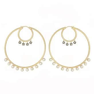 AMMANII - Large Hoop Vermeil Earrings With Freshwater Pearls