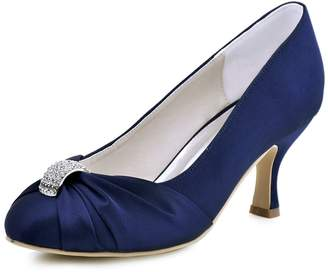 ElegantPark HC1526 Women Pumps Satin Wedding Evening Party Shoes US 10