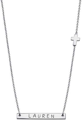 Silver Cross FINE JEWELRY Personalized Sterling Charm Name Bar Necklace