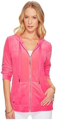 Lilly Pulitzer Larina Velour Zip-Up Hoodie Women's Sweatshirt