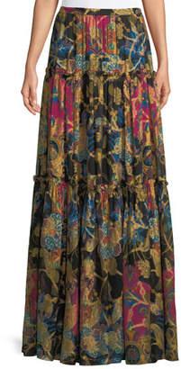Etro Mixed-Print Long Tiered Silk Skirt