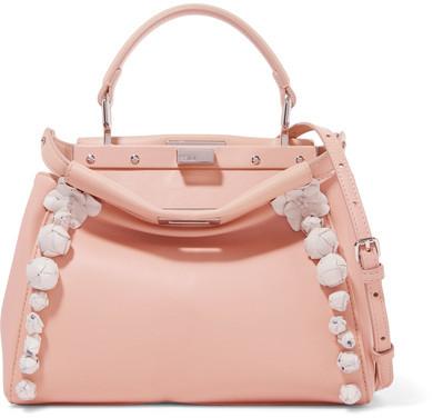 Fendi - Peekaboo Floral-appliquéd Leather Shoulder Bag - Pink