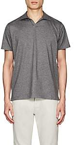 Barneys New York MEN'S COTTON JOHNNY-COLLAR POLO SHIRT-LIGHT GRAY SIZE M