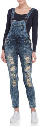 V.I.P. Jeans Distressed Denim Overalls