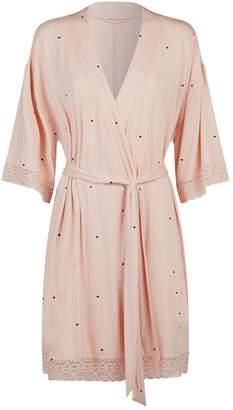 Eberjey Dots Lace Trim Short Robe