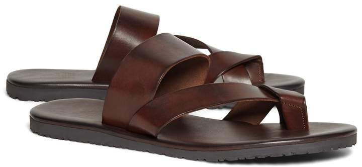 Brooks Brothers Leather Criss-Cross Sandal