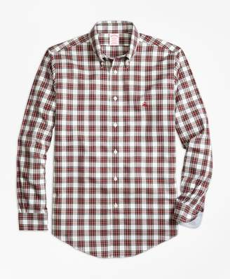 Brooks Brothers Non-Iron Madison Fit Dress Stewart Tartan Sport Shirt
